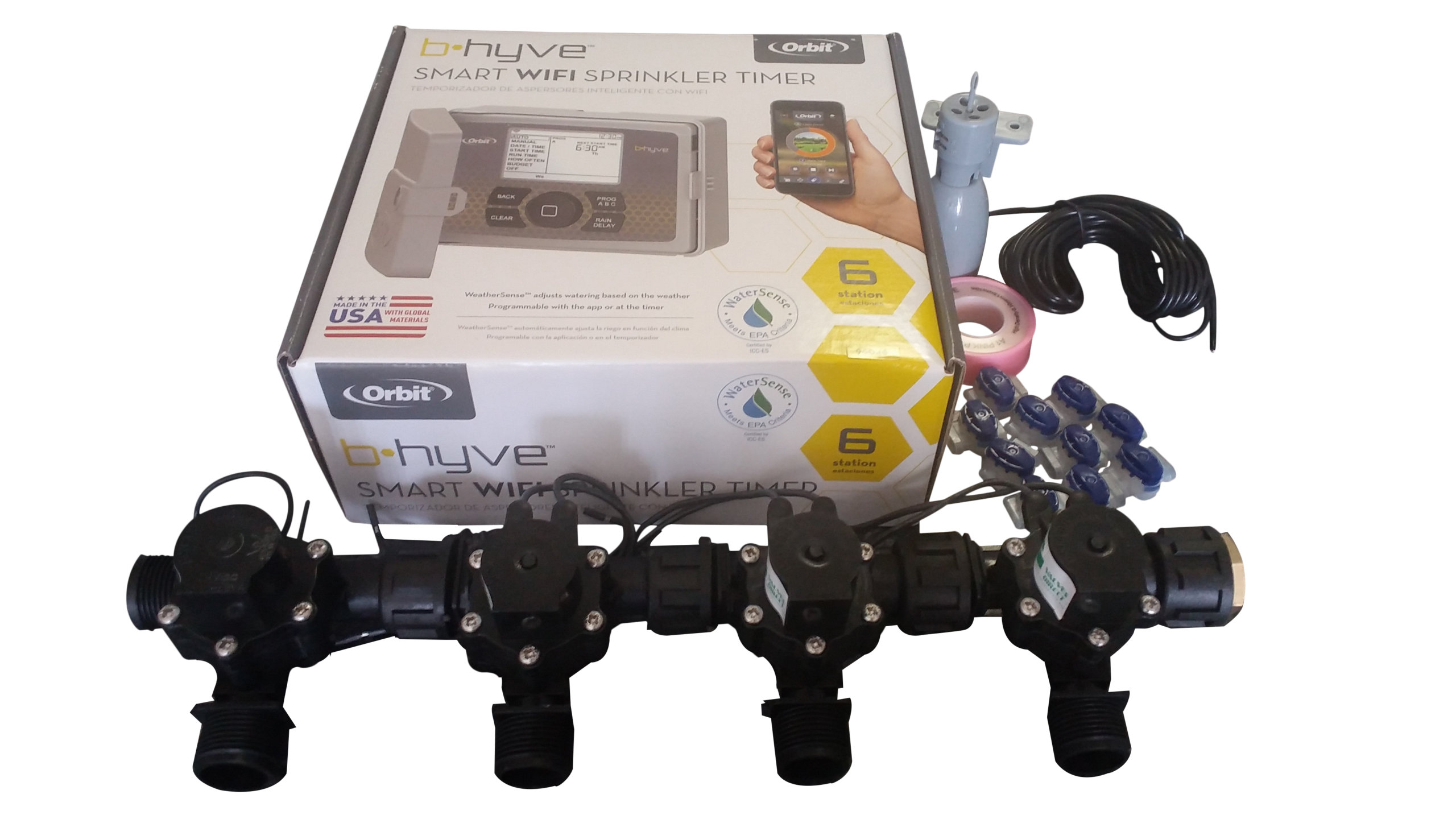 Orbit B-hyve WiFi Controller 6 Station with 4 x Solenoid Combo -Free Rain Sensor - Valves Direct