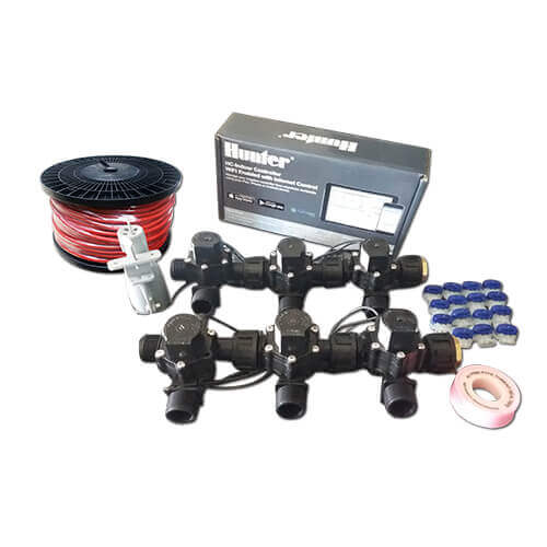 "Hunter Hydrawise 6 Station WiFi Irrigation Combo-Qty 6 x 3/4""Solenoids, Rain Sensor & Wire"
