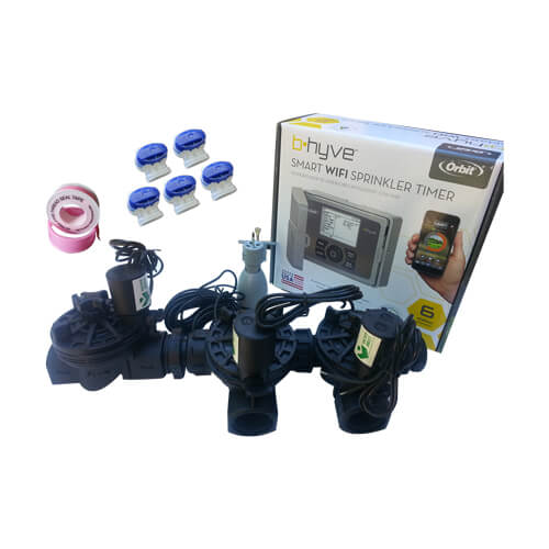 "Orbit B-Hyve 6 Station WiFi Irrigation Combo -Qty 3 x 1"" Solenoids & Rain Sensor"