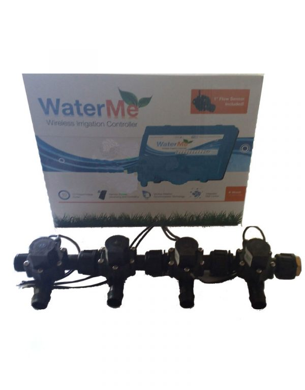 "WaterMe Irrigation Controller + Qty 4 x 3/4"" Irrigation Manifold Assembly x 19mm Barb Outlet( 2-way) - 50LPM"