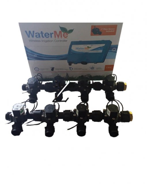 """WaterMe Irrigation Controller + Qty 8 x 3/4"""" Irrigation Manifold Assembly x 19mm Barb Outlet( 2-way) - 50LPM"""