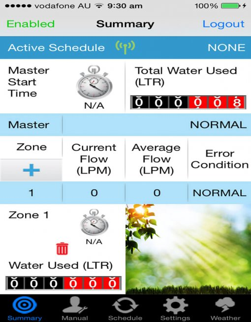 "WaterMe- Wireless Irrigation controller(1""Flow Sensor Included)+ 1 x Rain Sensor"