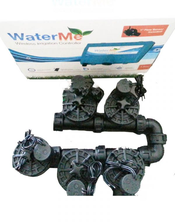WaterMe Irrigation Controller + Irrigation Manifold Assembly (4 x Manifold +1 x Inline Solenoid) - 100LPM