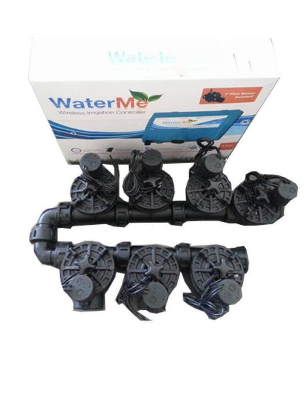 WaterMe Irrigation Controller + Irrigation Manifold Assembly (6 x Manifold +1 x Inline Solenoid) - 100LPM