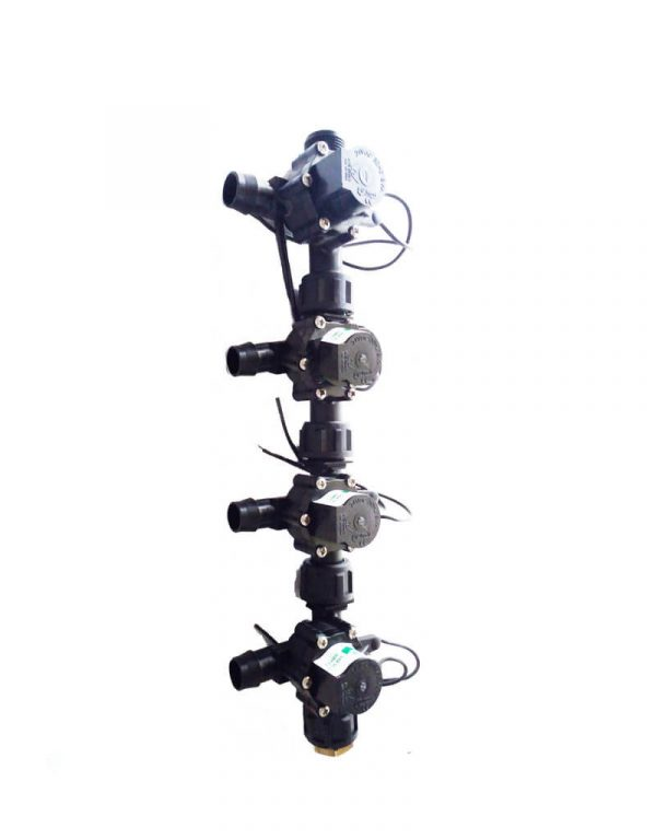 "Irrigation Manifold Assembly (4 x Manifold - 2-way 3/4"" 24VAC Inlet - 19mm Barb Outlet 50LPM)"
