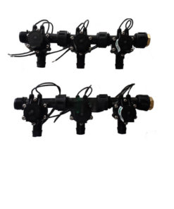 "Irrigation Manifold Assembly (6 x Manifold - 2-way 3/4"" 24VAC Inlet - 19mm Barb Outlet 50LPM)"