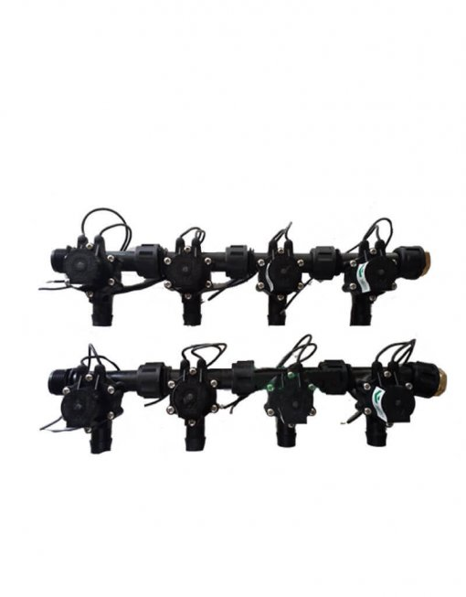 "Irrigation Manifold Assembly (8 x Manifold - 2-way 3/4"" 24VAC Inlet - 19mm Barb Outlet 50LPM)"