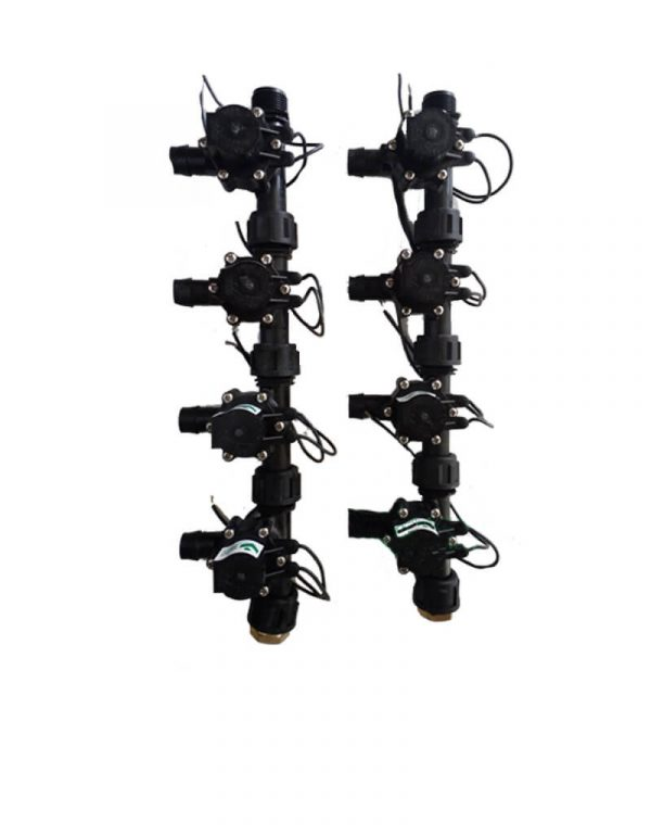 """Irrigation Manifold Assembly (8 x Manifold - 2-way 3/4"""" 24VAC Inlet - 19mm Barb Outlet 50LPM)"""