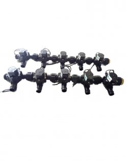 "Irrigation Manifold Assembly (10 x Manifold - 2-way 3/4"" 24VAC Inlet - 19mm Barb Outlet 50LPM)"