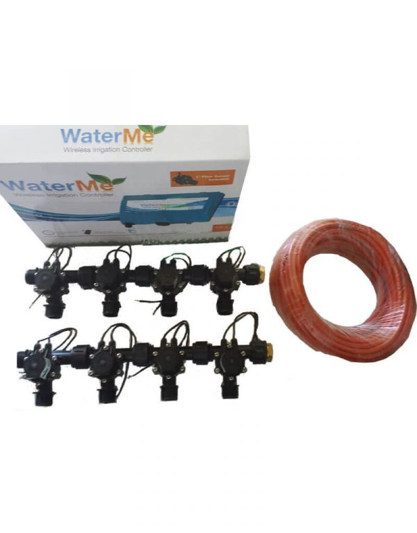 """WaterMe Combo - WiFi Controller & 8 Zone 3/4"""" Irrigation Manifold Valves with 9 core Wire"""
