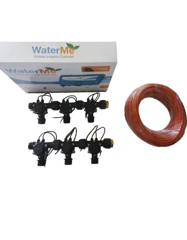 """WaterMe Combo - WiFi Controller & 4 Zone 3/4"""" Irrigation Manifold Valves with 7 core Wire"""
