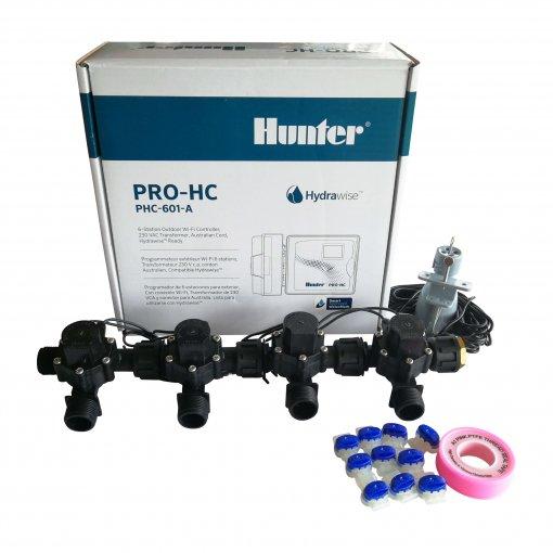 "Hunter 6 Station Pro-HC WiFi Irrigation*Outdoor*4x 3/4"" Solenoids,Free Rain Sensor"