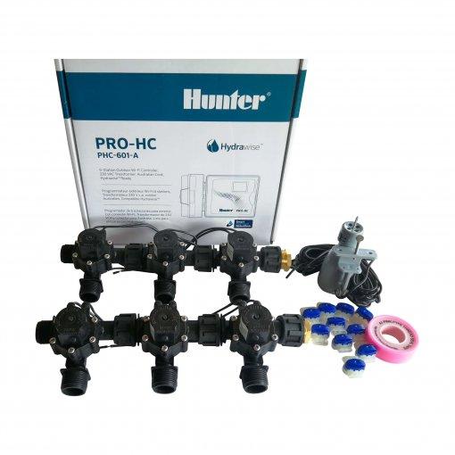 "Hunter 6 Station Pro-HC WiFi Irrigation*Outdoor*6x 3/4"" Solenoids,Free Rain Sensor"