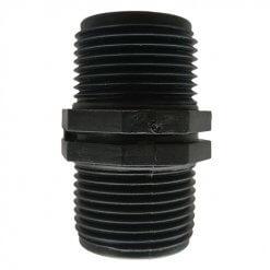 "Poly Threaded Nipple 3/4"" BSP Male x 3/4"" BSP Male - Irrigation/Garden"