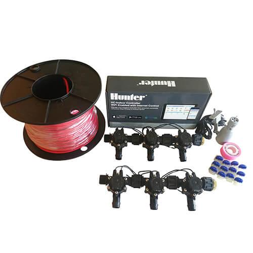 Hunter Hydrawise 6 Station WiFi Irrigation Combo-Qty 6 x 19mm Barb Solenoids, Rain Sensor & Wire