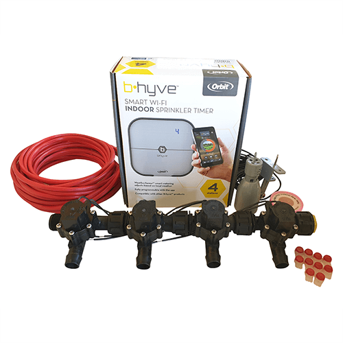 Orbit B-hyve WiFi Controller 4 Station-4x 19mm Barb Manifold Solenoid Valves & Wire Combo -FreeSensor