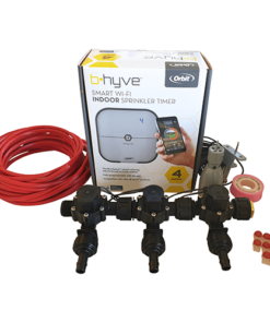 Orbit B-hyve WiFi Controller 4 Station-3x 13mm Barb Manifold Solenoid Valves & Wire Combo -FreeSensor