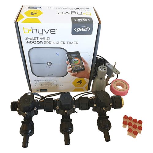 Orbit B-hyve WiFi Controller 4 Station-3x 13mm Barb Manifold Solenoid Valves Combo -FreeSensor