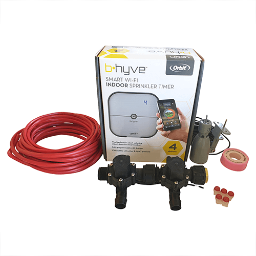 Orbit B-hyve WiFi Controller 4 Station-2x 19mm Barb Manifold Solenoid Valves & Wire Combo -FreeSensor