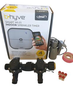 Orbit B-hyve WiFi Controller 4 Station-2x 19mm Barb Manifold Solenoid Valves Combo -FreeSensor