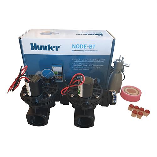 Hunter NODE BT (Bluetooth) 200 Kit - Solenoids,3M Connectors,Rain Sensor, 9V Battery Operated